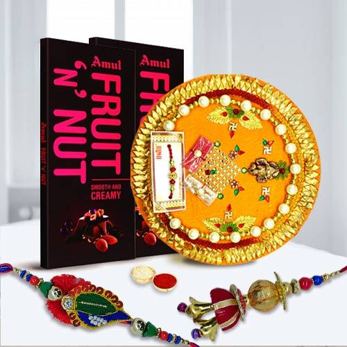 Traditional Bhaiya Bhabhi Rakhi Set with 2 pcs Amul Fruit n Nut N Pooja Thali