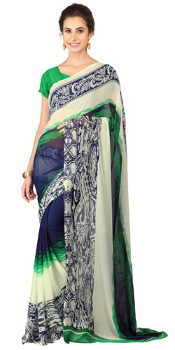 Rocking Weightless Georgette Floral Printed Saree Green and Blue in Colour