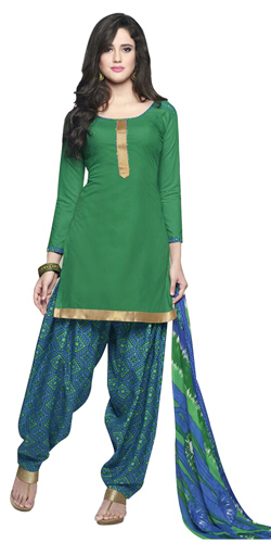 Gaudy Deep Green Coloured Pure Cotton Patiala Suit