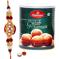Remarkable Raksha Bandhan Special Haldiram Gulab Jamun with One Free Rakhi, Roli Tilak and Chawal