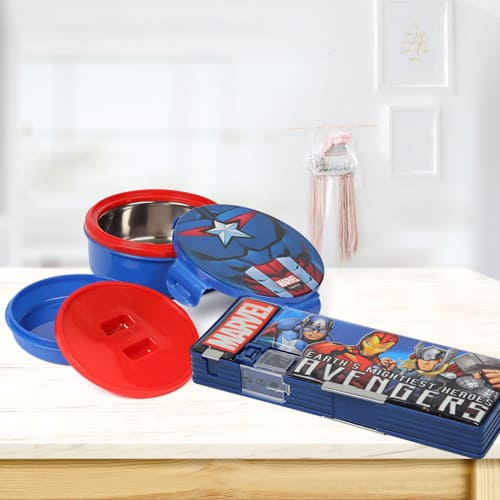 Attractive Avengers Tiffin n Pencil Box Gift Combo