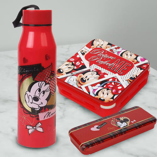 Marvelous Combo of Minnie Mouse Sipper Bottle, Pencil n Tiffin Box