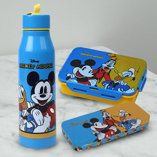 Wonderful Mickey Mouse Sipper Bottle, Tiffin n Pencil Box Gift Combo