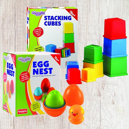 Marvelous Funskool Giggles Nesting Eggs N Stacking Cubes<br>
