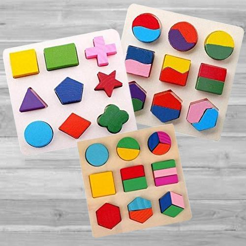 Exclusive Geometry Matching Puzzles Set of 3 Wooden Boards