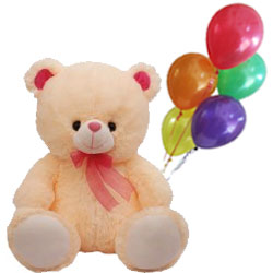 Sweet Love Teddy Bear Holding Balloons